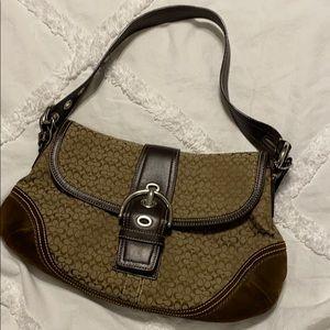 COACH Hobo Shoulder Bag Purse Brown Leather Trim